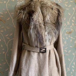 Vintage Fendi Sweater Jacket w/ Mink Collar